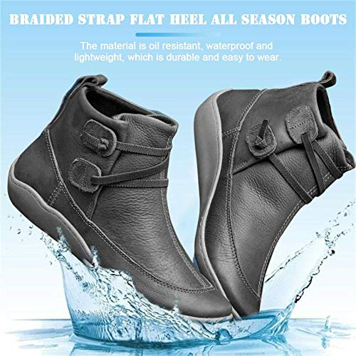 2020 New Arch Support Boots for Women Men,Comfy Braided Strap Flat Heel Walking Boots Waterproof, Arch Support Ankle Boots Shoes