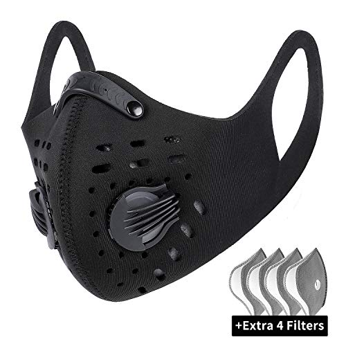 West Biking Mesh Dust/Pollution Mask for Air Filtration, Sport Mask with Exhalation Valves Filters, Activated Carbon N99 PM2.5 Filters Air Purifier (1Mask+5Filters)