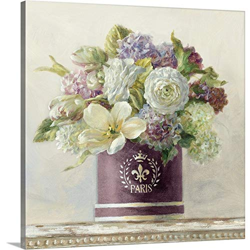 Tulips in Aubergine Hatbox Canvas Wall Art Print, 12