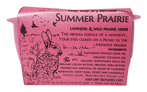 WFG WATERFALL GLEN SOAP COMPANY, LLC, Summer Prairie bath soap, lavender and wild herb, vegan with shea butter 5.8oz