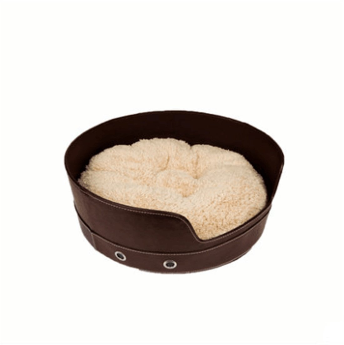 Coffee CHWWO Imitation Leather Fabric Round Doghouse Set (Three mats) Orthopedic Dog Bed Pet Supplies Easy to Clean Four Seasons Universal Ideal Comfortable Bed 48  48  18cm, Coffee