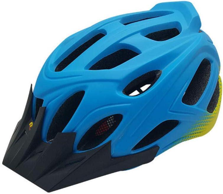 Bicicleta, Casco De Montar A Caballo Integrado Mountain Road Helmet, Equipo De Equitación para Exteriores, Azul Y Amarillo