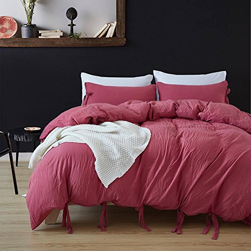 Merveilleux DuShow Solid Color Egyptian Wash Cotton Duvet Cover Luxury Bedding Set High  Thread Count Long Staple Weave Silky Soft Breathable Bed Linen