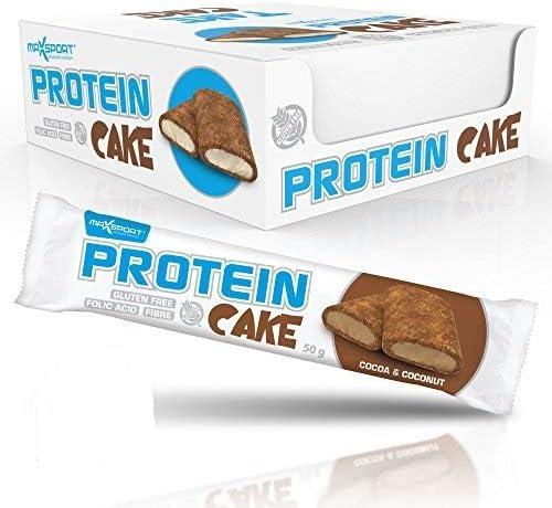 Maxsport Nutrition Protein Cake Proteinriegel, Glutenfrei Protein riegel Protein snack, Ideal für Sportler, oder zum Kaffee oder Tee, Original Protein produkt, höhe balaststoffe und Eiweiß - 20 Stück - Cocoa & Coconut