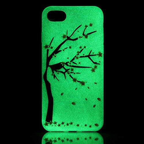iPhone 7 / 8 Hülle mit Fluoreszenz , Modisch Aprikosenblume Transparent TPU Silikon Schutz Handy Hülle Handytasche HandyHülle Etui Schale Schutzhülle Case Cover für Apple iPhone 7 / 8