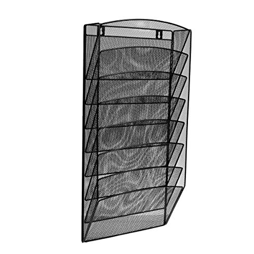 AdirOffice Steel Mesh Magazine Wall Rack - Functional Opaque Magazine Organizer - Great for Lobbies Reception Areas & More (8 Pocket, Black)