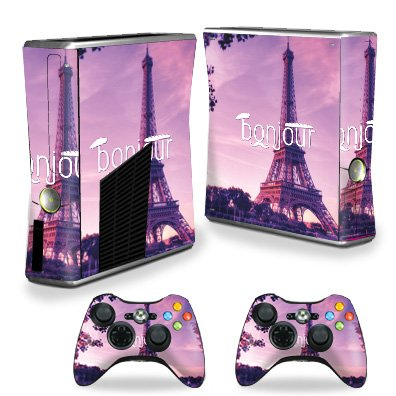 MightySkins Skin Compatible with X-Box 360 Xbox 360 S Console - Bonjour | Protective, Durable, and Unique Vinyl Decal wrap Cover | Easy to Apply, Remove, and Change Styles | ()