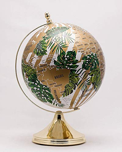10 inches Deluxe Design Handcrafted Rotating World Earth Globe Perfect for Home Office Decoration Gift (Botanic Gold Base) (Mundi Map)
