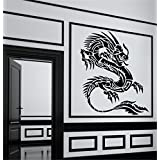 "ColorfulHall 23.6"" X 29.5"" Black Chinese Dragon Wall Decal Wall Sticker Dragon Removable Vinyl Mural Art"