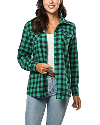 KENANCY Womens Long Sleeve Plaid Button Down Shirt Casual Classic Flannel Shirt Jade Green