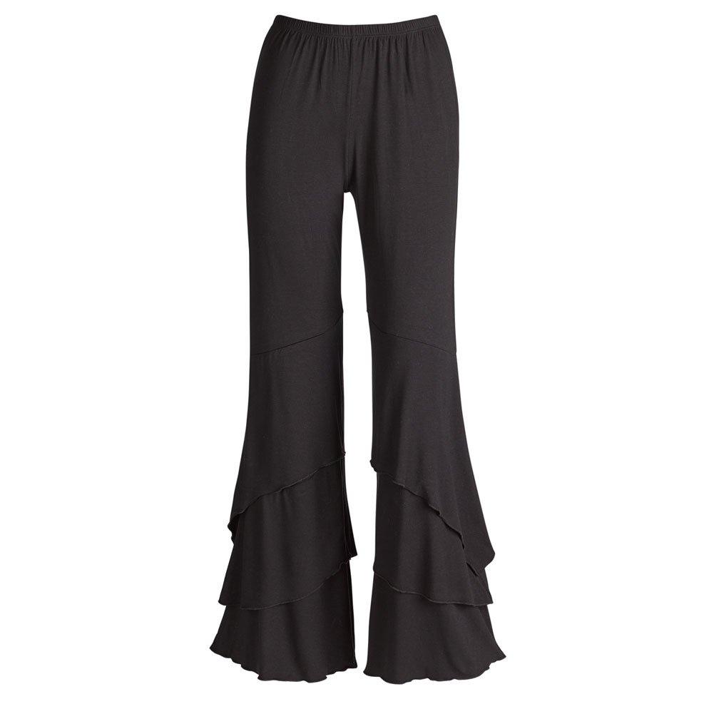 CATALOG CLASSICS Women's Cascade Pull On Ruffle Pants - Black - Large