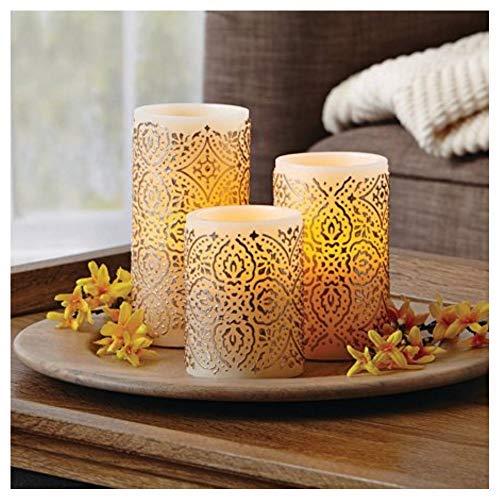 Better Homes and Gardens LED Flameless Pillar Candle Set, Malaysian Motif
