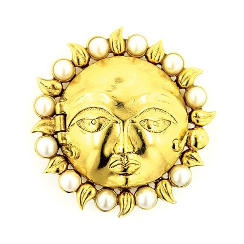 Antiquities-Couture-Antique-Sun-Face-Gold-and-Pearl-Brooch