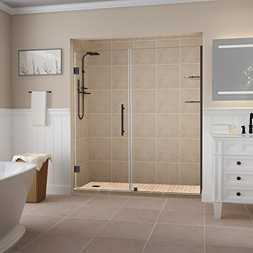 Alcove Shower Doors - Aston SDR960EZ-ORB-7438-10 Belmore GS Frameless Hinged Alcove Shower Door with StarCast Clear Glass and Shelves, 73.25