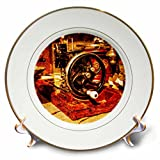 3dRose Alexis Photography - Objects - Golden age technologies - sewing machine. Stylized photo - 8 inch Porcelain Plate (cp_270866_1)