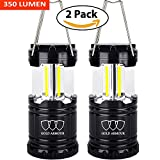 LED Camping Lantern - Gold Armour Brightest LED Lantern - Camping Lantern (EMITS 350 LUMENS!) - Camping Gear Camping Equipment Camping Lights for Hiking, Emergencies, Hurricanes, Outages, Storms (2Pack Black)