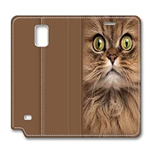 Big Face Brown Cat Samsung Galaxy Note 4 Smart Leather Cover