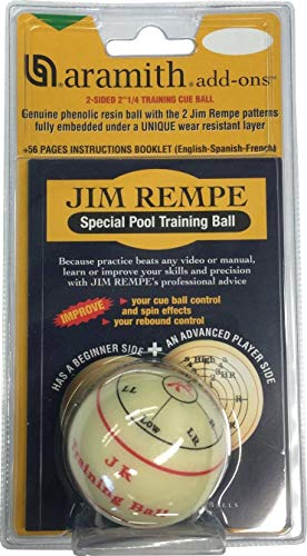 "Aramith Jim Rempe Training Cue Ball 2-1/4"" Regulation Size Billiard Pool Ball with Instruction Manual Learn to Play Better"