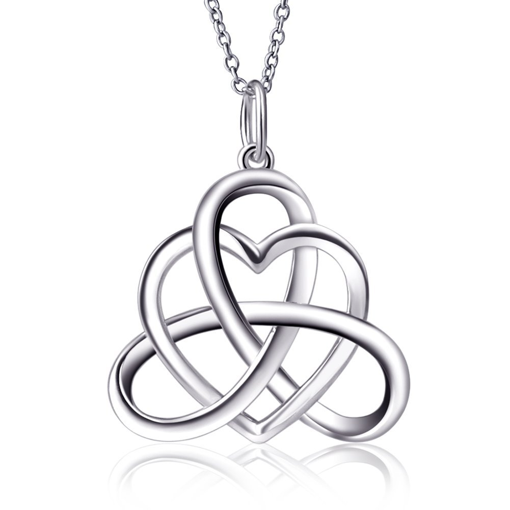 SILVER MOUNTAIN 925 Sterling Silver Good Luck Irish Heart with Triangle Celtic Knot Vintage Pendant Necklace, Rolo Chain 18''
