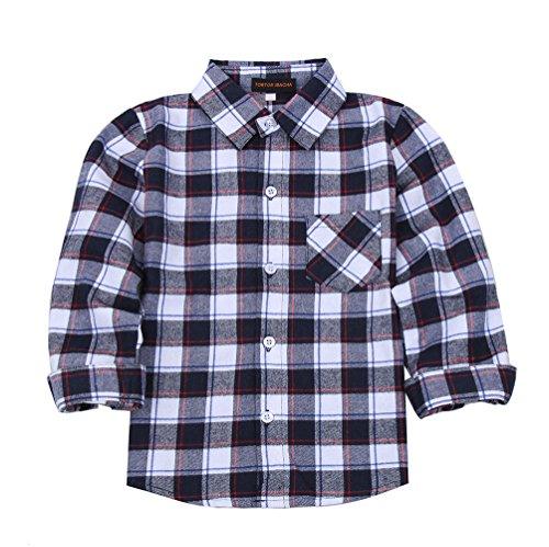 Kid Girl Boy Long Sleeve Button Down Plaid Flannel Shirt White Black -