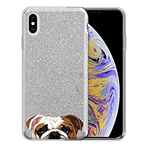 FINCIBO Case Compatible with Apple iPhone Xs Max 6.5 inch, Shiny Sparkling Silver Bling Glitter TPU Protector Cover Case for iPhone Xs MAX (NOT FIT iPhone Xs) - Beagle Puppy Dog 1