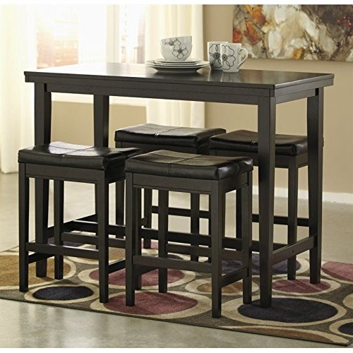 Ashley Kimonte 5 Piece Counter Height Dining Set in Brown