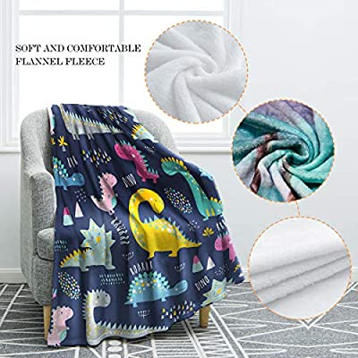 Jekeno Cartoon Dinosaurs Throw Blanket Soft Ligtweight Durable Cozy Bed Couch Blanket for Sofa Clair Bed Office Kids Gift 50