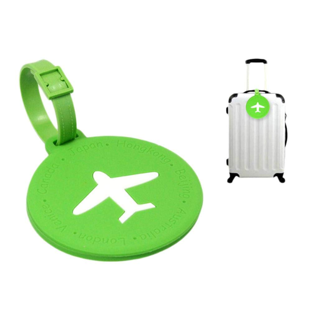Luggage Tag, Ikevan Flexible Portable Information Cards Name Labels for Traveling PVC Luggage Tag (602, Green)