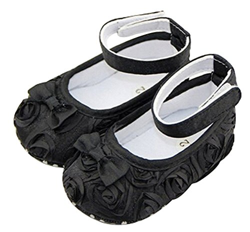 ChineOn Cute Newborn Infant Toddler Girl Baby Rose Style Soft Warm Princess Floral Shoes Cack(Black: 11cm)