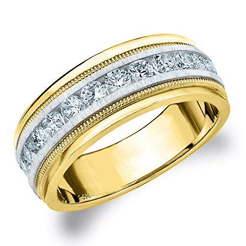 1CT Heritage Men's Diamond Ring in 14K Two Tone Gold Satin Finish - Finger Size 10 (Tiffany Ring Tone Two)