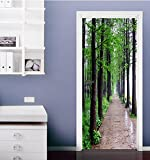 "3D Road Forest 417 Door Wall Mural Photo Wall Sticker Decal Wall | Self-adhesive 3D Door Wall Mural , AJ WALLPAPER US Lemon (Vinyl (No Glue & Removable), 【81""x32""】205x82cm(HxW))"