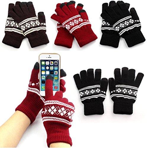 Guantes calientes unisex,Ouneed ® Nueva pantalla Jacquard suave invierno caliente guantes manopla de punto marrón