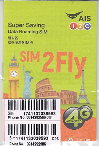AIS SIM2FLY 4GB / 15 Days Non-Stop Roaming SIM To Use In Europe, Asia, Middle East, USA, Canada As Well As Russia - Ideal SIM Card For The FIFA World Cup by AIS