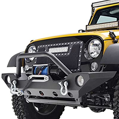 GSI 07-16 Jeep Wrangler JK Front Bumper with OE Fog Light Hole and Winch Mount Plate-Black Textured