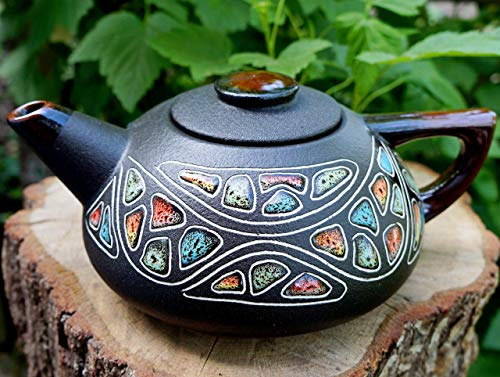 Multicolor hand painted ceramic teapot 33.8 oz,Handmade Kitchen gift for Birthday Christmas Anniversary, Colored decorative stones