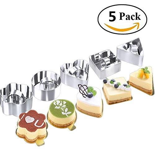 Rocktrend Stainless Steel Cake Mold Heart Dessert Mousse Mold With Pusher Cake Rings For Cake/Baking/Layering/Molding by RockTrend