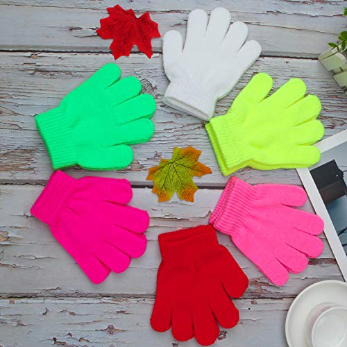 70e36c4152e09 Coobey 12 Pairs Kids Warm Magic Gloves Teens Winter Stretchy Knit Gloves Boys  Girls Knit Gloves