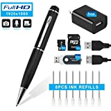 Hidepoo Hidden Camera Pen, 1080P HD Mini Portable Came With Video & Photo Mode Multifunction DVR Cam with 8 Black Refills  and 16GB SD card