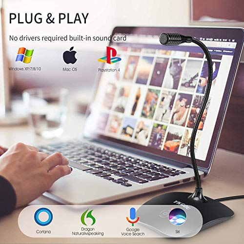 USB Computer Microphone with Mute Button,Plug&Play Condenser,Desktop, PC, Laptop, Mac, PS4 Mic LED Indicator -360 Gooseneck Design -Recording, Dictation, YouTube, Gaming, Streaming(Omnidirectional)