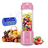 Portable Blender, HUGGD USB Juicer Cup - Six Blades in 3D, 4000mAh Rechargeable Battery, 480ml Fruit Mixing Machine with Power Bank, Ice Tray(FDA BPA Free) (Pink)