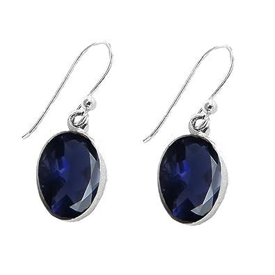 925 Sterling Silver Iolite Oval Drop Fishhook Earrings - August Birthstone Q9CPLwLE2G