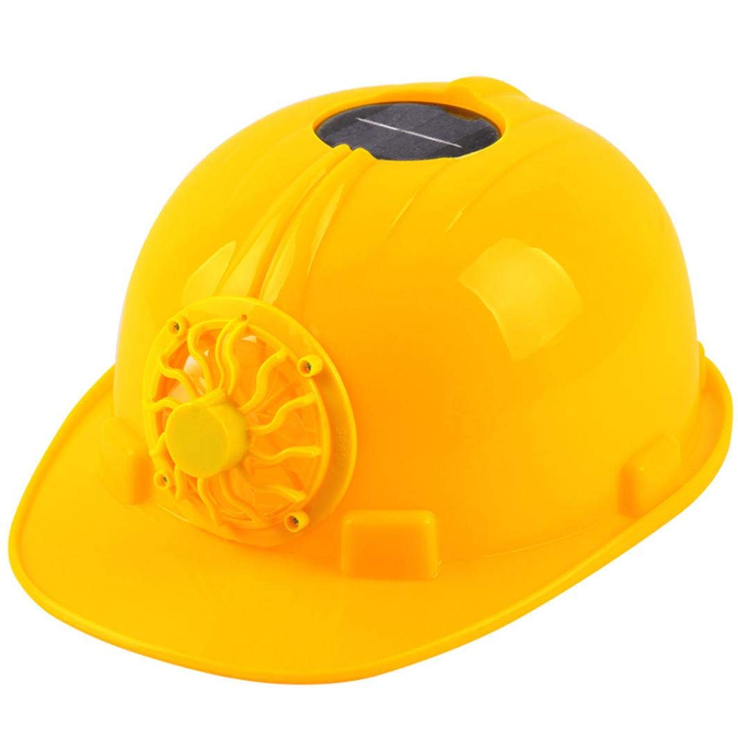 Safety Hard Hat, SUJING Adjustable Helmet Head Protection Cap Personal Protective Equipment with Solar Powered Cooling Fan (Yellow)