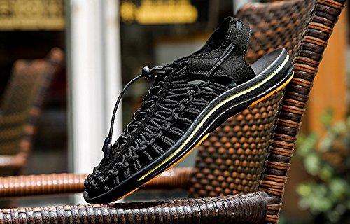 Mens Gepersonaliseerde Handgemaakte Rome Stijl Sandalen Geweven Schoenen Outdoor Beachshoes Visser Schoenen Zwart