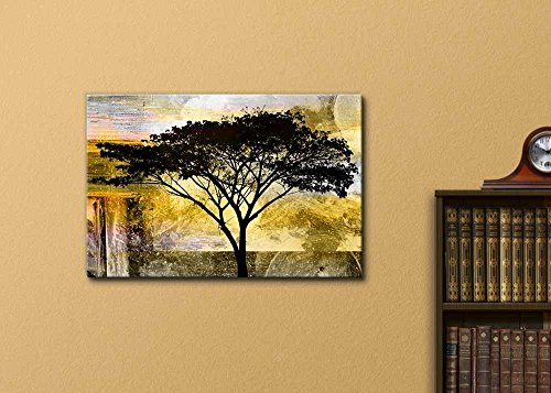 Abstract Black Tree on Grunge Background