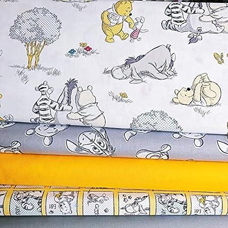Winnie the Pooh White Yellow Green 100/% Cotton Fabric 4 Piece Fat Quarter Bundle