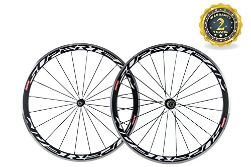 Superteam Carbon Wheels 700c Alloy Brake Surface 38mm Depth Wheelset with Glossy Finish ()