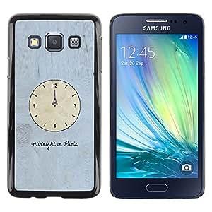 TopCaseStore / la caja del caucho duro de la cubierta de protección de la piel - Time Clock Paris Eiffel Art Midnight - Samsung Galaxy A3 SM-A300