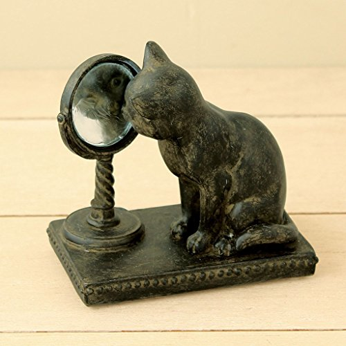 - Time Concept Polyresin Liberty Cat Looking Mirror Figurine - Home Decor - Antique Finish