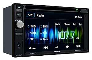"Jensen VX4022 2 DIN Multimedia Receiver, 6.2"" Touch Screen & Built-in USB Port (Black/Black/Black)"