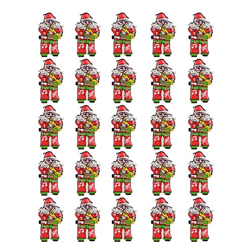 (Christmas Brooch Pins, 25 Pieces Christmas Santa Claus Badge Button Sparkling Brooches Plastic Pin Set for Party Clothes Decorations Women Men Children Ornaments Gifts)